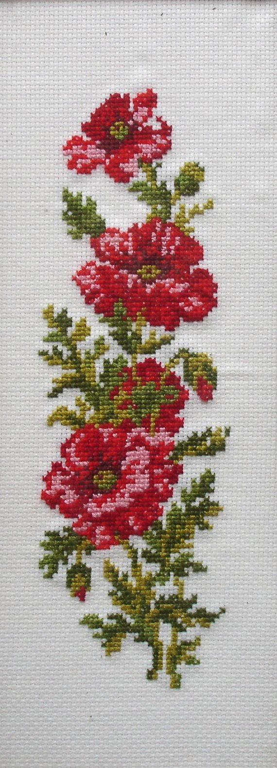 Poppies Counted Cross Stitch / Needlepoint / Sampler / Craft Work / Handmade The picture measures 15 1/4 inches by 7 3/4 inches.    The condition is very good, it is lovely and clean and ready to hang straight on your wall.    It would be a super addition to any collection, excellent display piece or authentic period prop.    Thanks for looking and please cast a glance at my other vintage and historical items at https://www.etsy.com/uk/shop/FillyGumbo?section_id=all