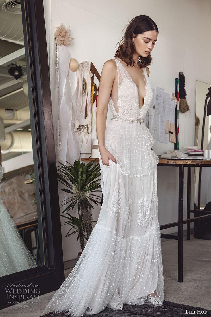 lihi hod 2017 bridal sleeveless deep plunging v neck full embellishment sexy bohemian a  line wedding dress v low back sweep train (sydney) sdv mv