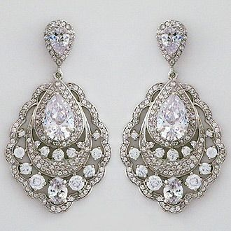 Gorgeous CZ vintage chandelier earrings. Lovely for a black tie affair or a statement bridal earring.