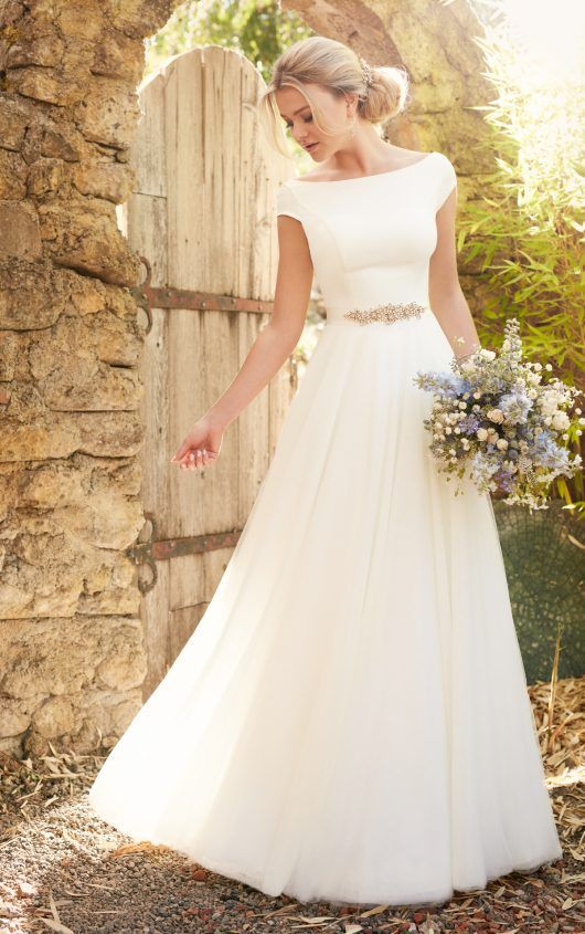 D2304 Modest Luxe Boho Wedding Dress by Essense of Australia