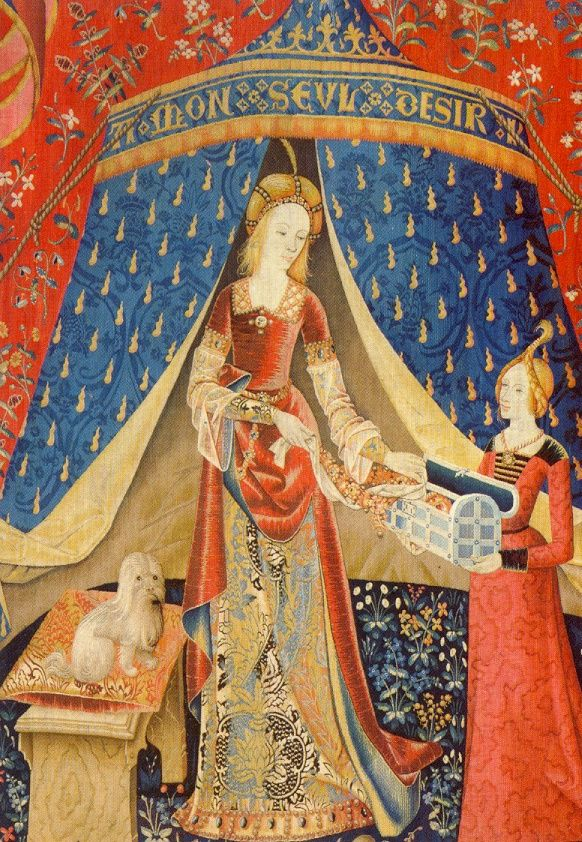 """La dame à la Licorne (the Lady and the Unicorn) tapestries, in the Musée national du Moyen-Âge Lyon. This one says """"à mon seul désir"""" (to my only desire).1484 - 1500"""