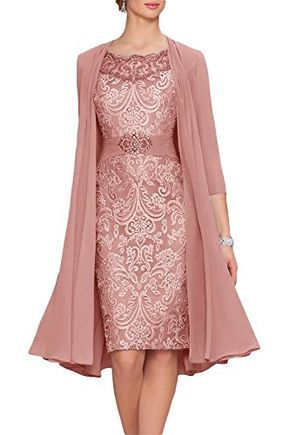 Newdeve Chiffon Mother Of The Bride Dresses Tea Length Two Pieces With Jacket