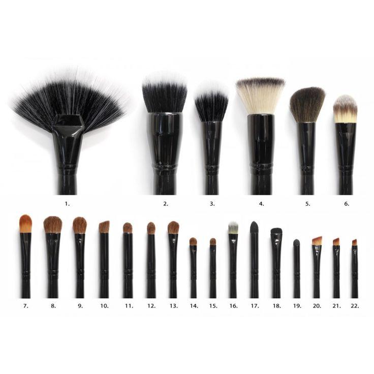 22 Professional Cosmetic Brushes Stylish Leatherine Brush Case Synthetic & Natural Bristles Black Handle & Black Ferrule