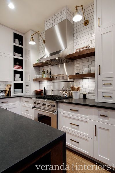 there's something very adorable about wood open shelving in the kitchen