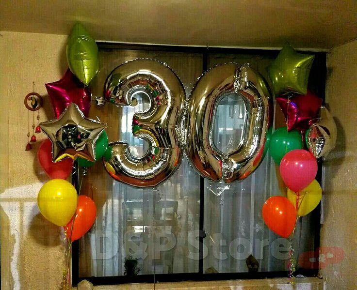 Balloons numbers 30, balloons  látex, balloons foil, globos de número y bouquet de color