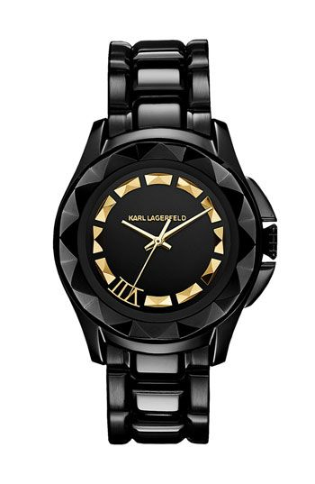KARL LAGERFELD '7' Faceted Bezel Bracelet Watch, 36mm available at #Nordstrom