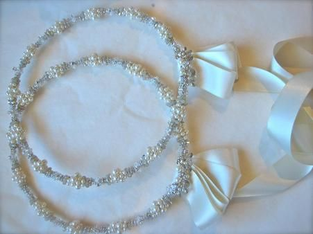 Couture Handmade Stefana with white pearls and Swarovski crystal