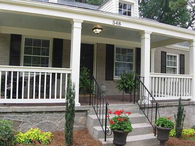 Brick bungalow front porch pretty porches pinterest for Front deck designs bungalow