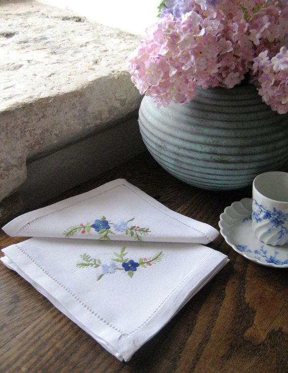 4 x French Vintage Hand Embroidered Napkins with by Chezpetitpica, €10.00