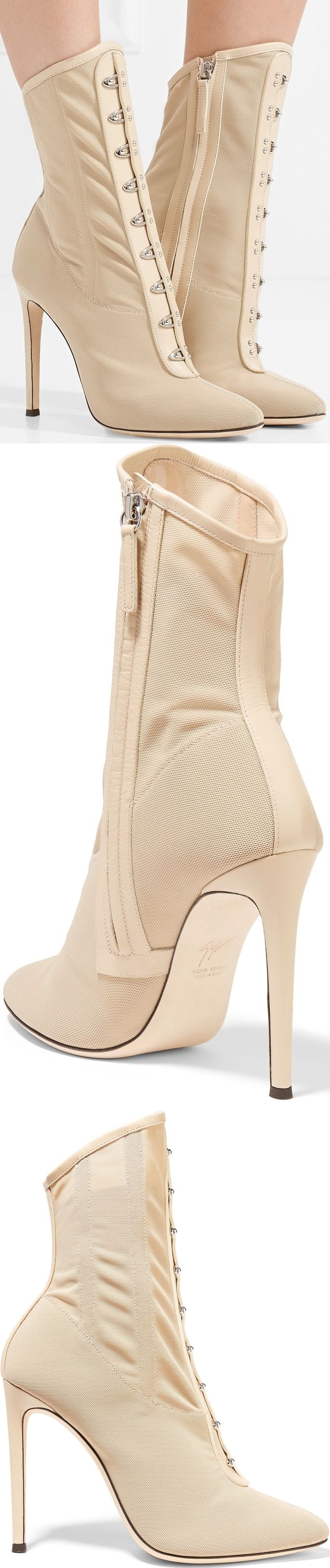 Giuseppe Zanotti Janice leather-trimmed stretch-mesh ankle boots