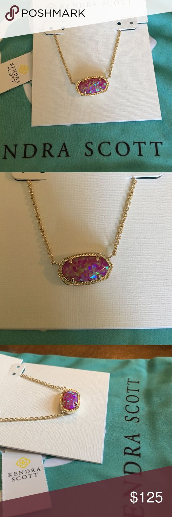 Kendra Scott Opal Elisa NWT Kendra Scott fuchsia Kyocera opal set in gold. BEAUTIFUL necklace! Very hard to find, no longer sold in stores. Comes with care card and dust bag. Will ship safely and next day!           || open to REASONABLE offers only || Kendra Scott Jewelry