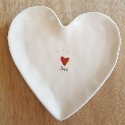 LARGE Heart Shaped Ceramic Trinket Tray with Red Heart & LOVE | Jewelry Dish