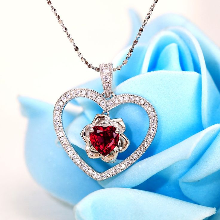 Heart Theme with Rose Synthetic Ruby Pendant Women's Necklace ForValentine'sDayGift