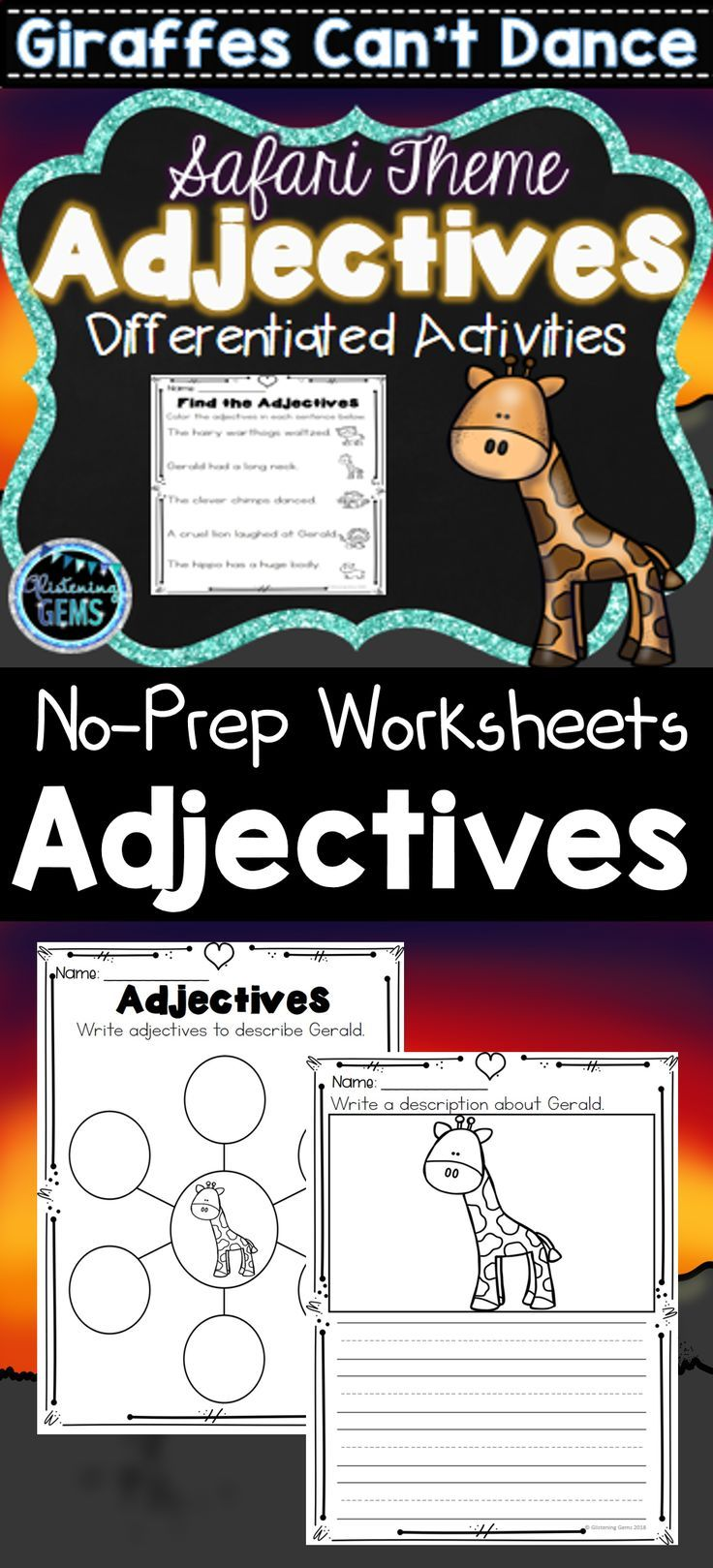 Giraffes Can T Dance Adjective Worksheets Printables Color And Black Lined Giraffescan Tdance Giraffes Cant Dance Adjectives Printables Talk 4 Writing [ 1619 x 736 Pixel ]