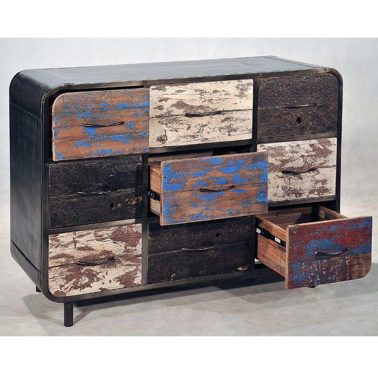 commode industrielle 9 tiroirs vintage fer et bois de bateau recycl pas cher en vente chez. Black Bedroom Furniture Sets. Home Design Ideas