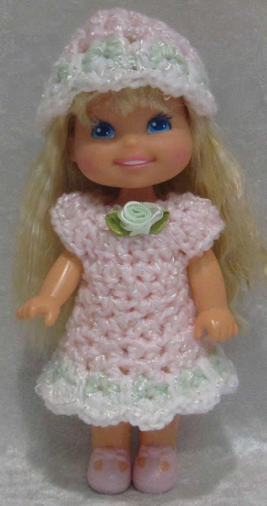 """KELLY & Cherry Merry Muffin 6"""" Doll Clothes #05c Handmade Crochet Dress & Hat #HandmadebyESCHdesigns"""