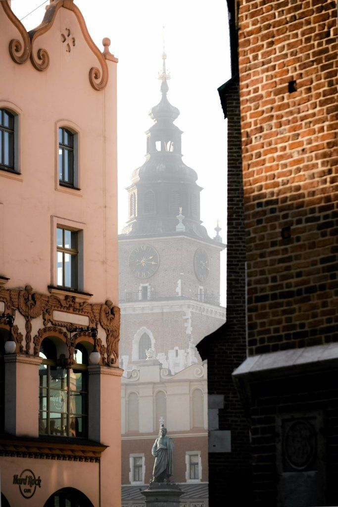 Cracow :  Adam Mickiewicz monument and Town Hall