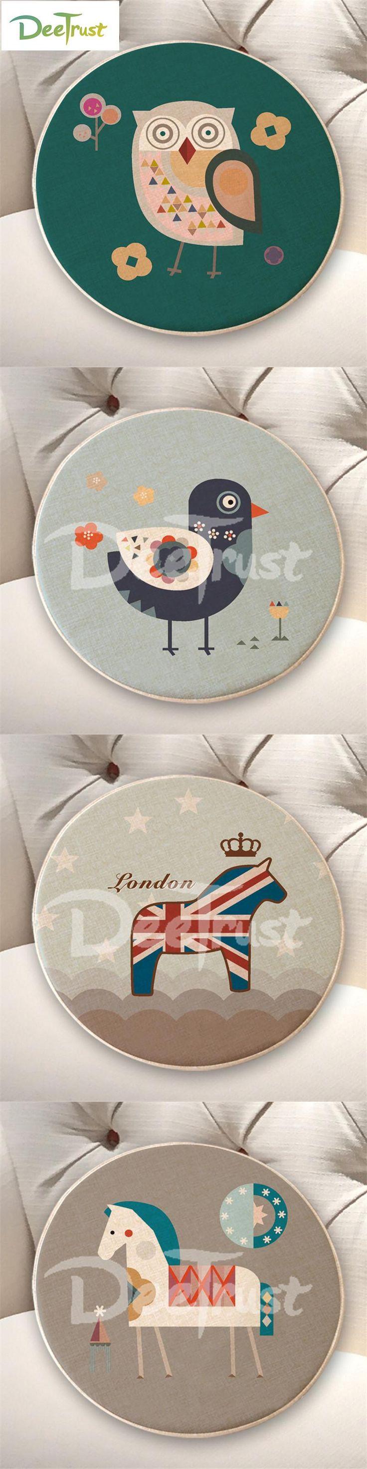 European London Cotton Linen Pillow Round Owl Bird Tree Seat Cushion Thick Foam Cartoon Animal Throw Pillow Washable Cojines