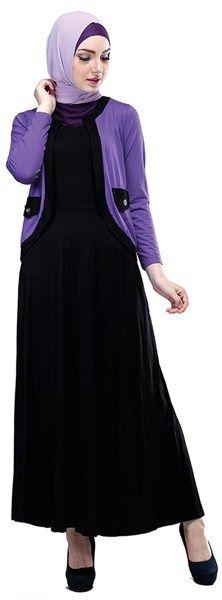 Long Dress Wanita Inficlo SOP 871 Ungu Hitam