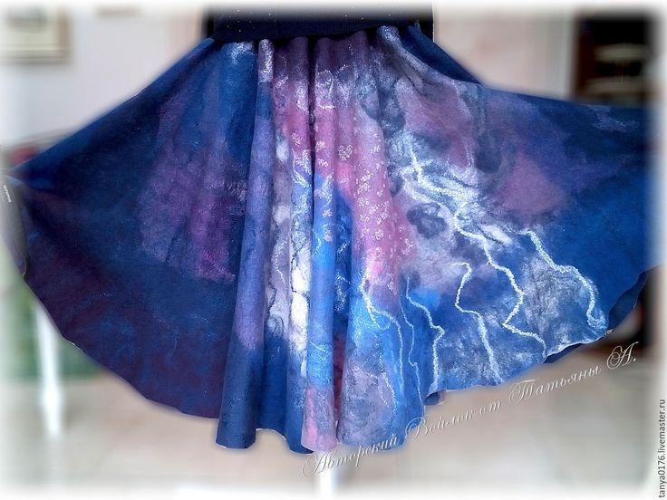 """Купить Валяная юбка""""Космос"""" - комбинированный, абстракный рисунок, юбка валяная, юбка-солнце, Валяние"""