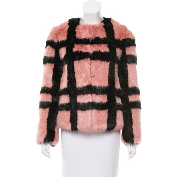 Pre-owned Shrimps Faux Fur Plaid Coat ($495) ❤ liked on Polyvore featuring outerwear, coats, black, faux fur coat, plaid coat, short faux fur coat, print coat and j.crew coats