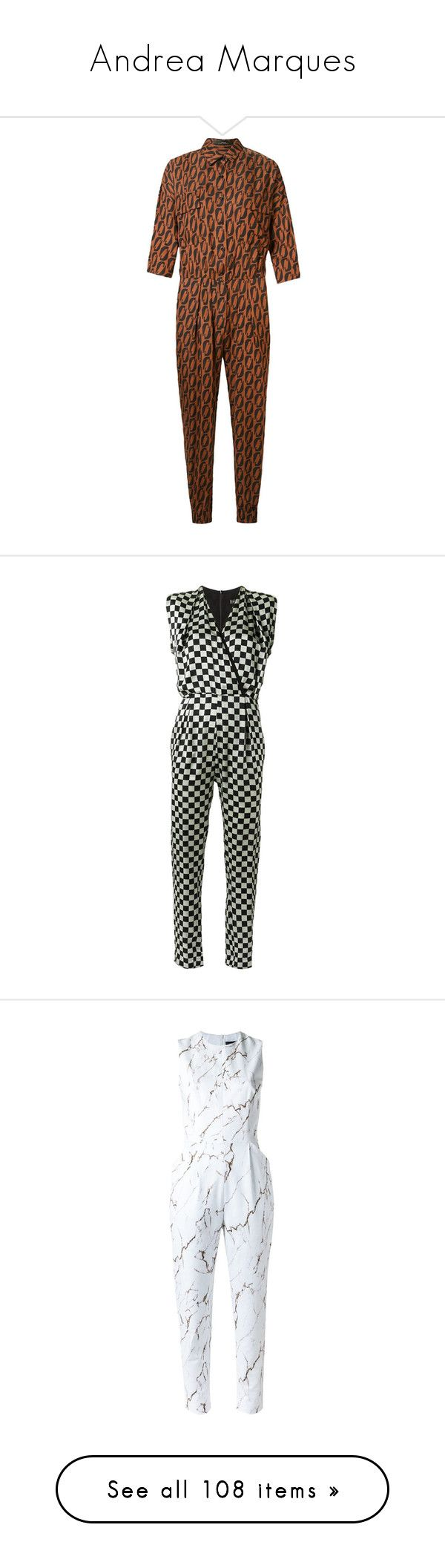"""""""Andrea Marques"""" by ahmady ❤ liked on Polyvore featuring jumpsuits, jump suit, andrea marques, brown jumpsuit, 3 4 sleeve jumpsuit, black, v neck jumpsuit, sleeveless jumpsuit, silk jumpsuit and white"""