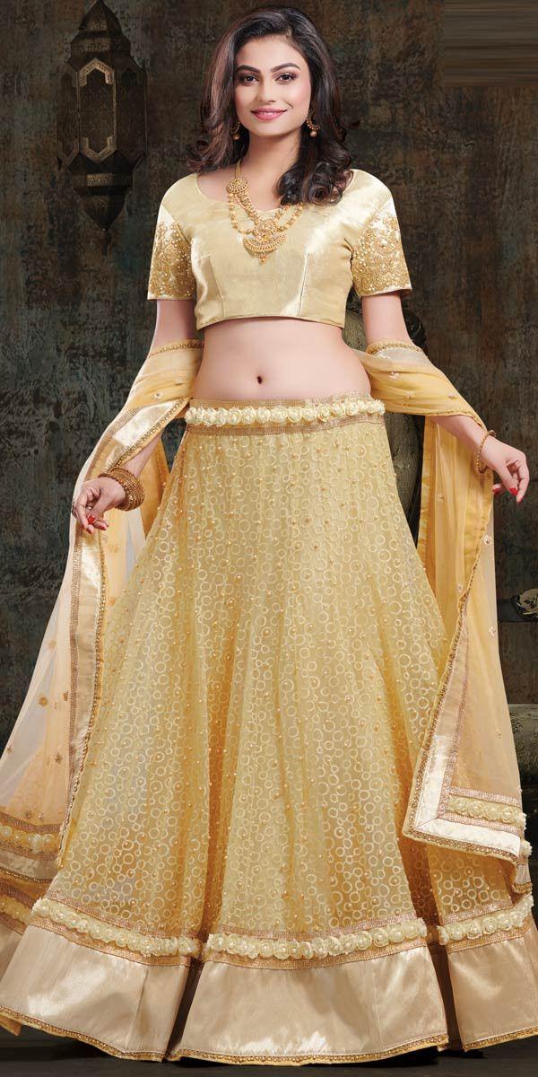 47253738e Lovely Beige Net Lehenga Choli.          lehenga  lehengas  weddingwear   bridalwear  partywear  partywearlehenga  indianwedd…