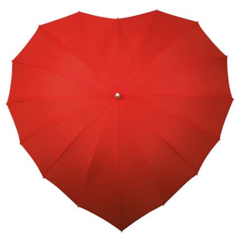 Hartvormige rode paraplu met aluminium stok. Het handvat onderaan de paraplu heeft dezelfde kleur als het scherm en is in gecoat rubber. Zelfs op een regenachtige dag zal u stralen!