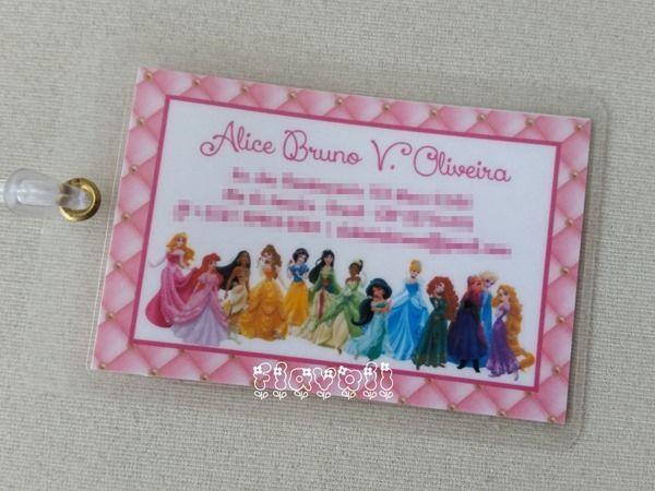 Tag plastificada - Princesas Disney  :: flavoli.net - Papelaria Personalizada :: Contato: (21) 98-836-0113 - Também no WhatsApp! vendas@flavoli.net