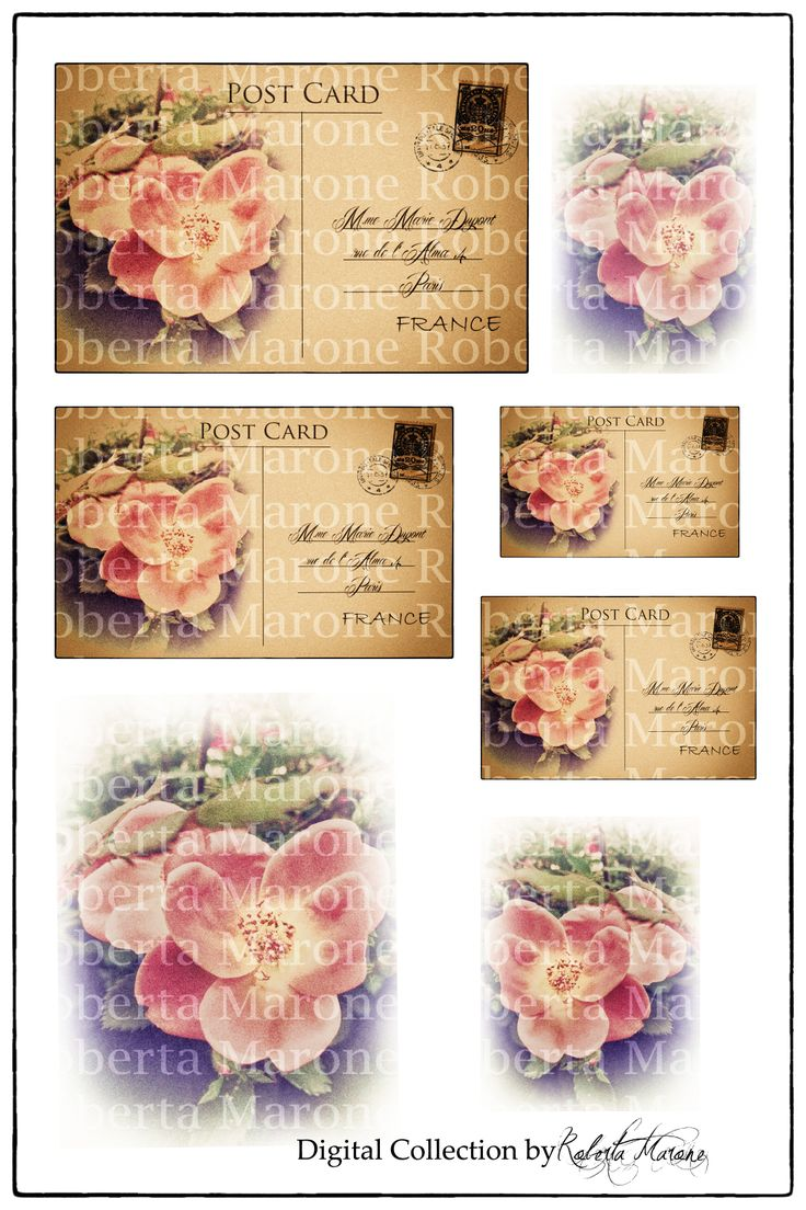 Digital vintage collection - Roses and postcards High def découpage and papers to download and print  -www.decouparts.it