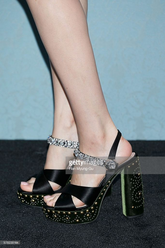 South Korean actress Han Hyo-Joo, shoe detail, attends the opening event for the Miu Miu Cheongdam Boutique on July 20, 2016 in Seoul, South Korea.
