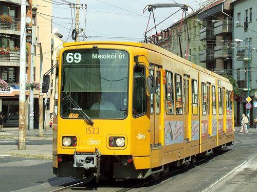 Older tram at Nagy Lajos király street, Budapest