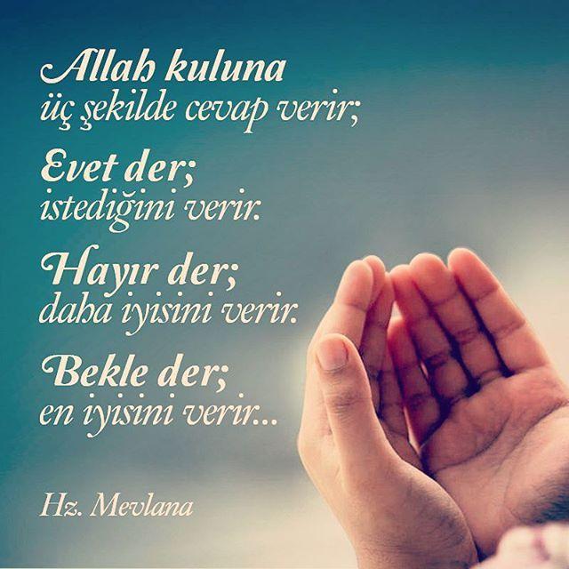 Allah kuluna üç şekilde cevap verir; EVET der, istediğini verir. HAYIR der, daha iyisini verir. BEKLE der, en iyisini verir. #mevlana #mevlanacelaleddinirumi