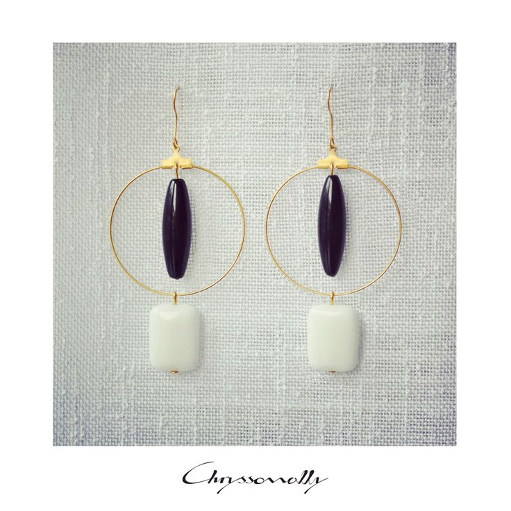 JEWELRY | Chryssomally || Art & Fashion Designer - Minimal geometric gold earrings with black and white gemstones