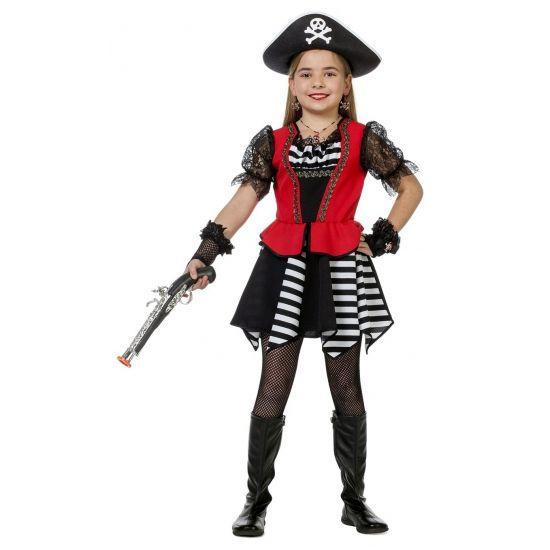 Piraten jurkje voor meisjes. Zwart/wit piraten verkleed jurkje voor meisjes met een rood hesje en zwarte tule pof mouwtjes. Exclusief accessoires.