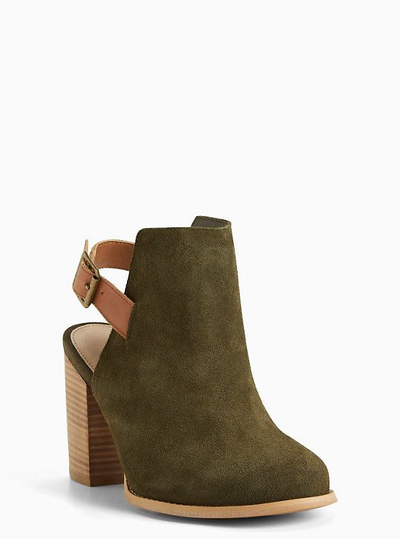 Plus Size Suede Heeled Slingback Booties (Wide Width), MARTINI OLIVE | Size 8 W