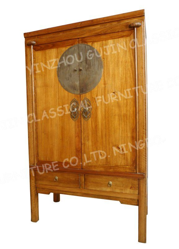 Captivating Chinese Antique Furniture Reproduction, Ming Style Wedding Cabinet, 2 Door  2 Drawer With Plain