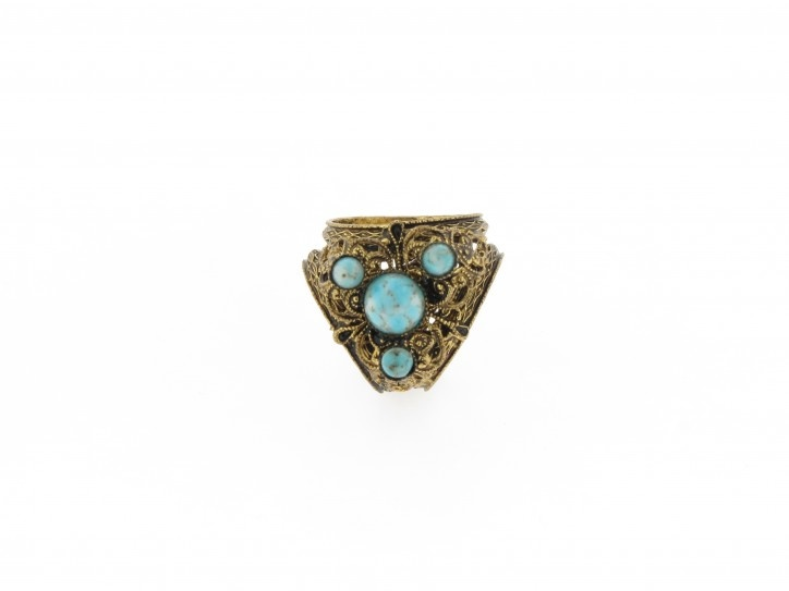 Vintage Filigree and Turquoise Scarf Ring from ScarfRing.Com