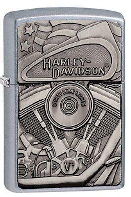 Zippo-Harley-Davidson-Emblem-Lighter-With-Motor-Flag-and-Eagle-29266-NIB