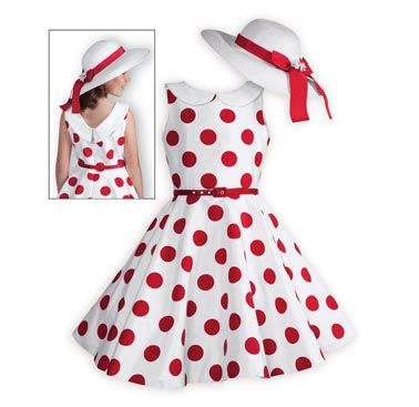 A fun dress for twirling! Bright red polka dots against a crisp white background of shimmering polyester taffeta. Waisted dress with full circle skirt