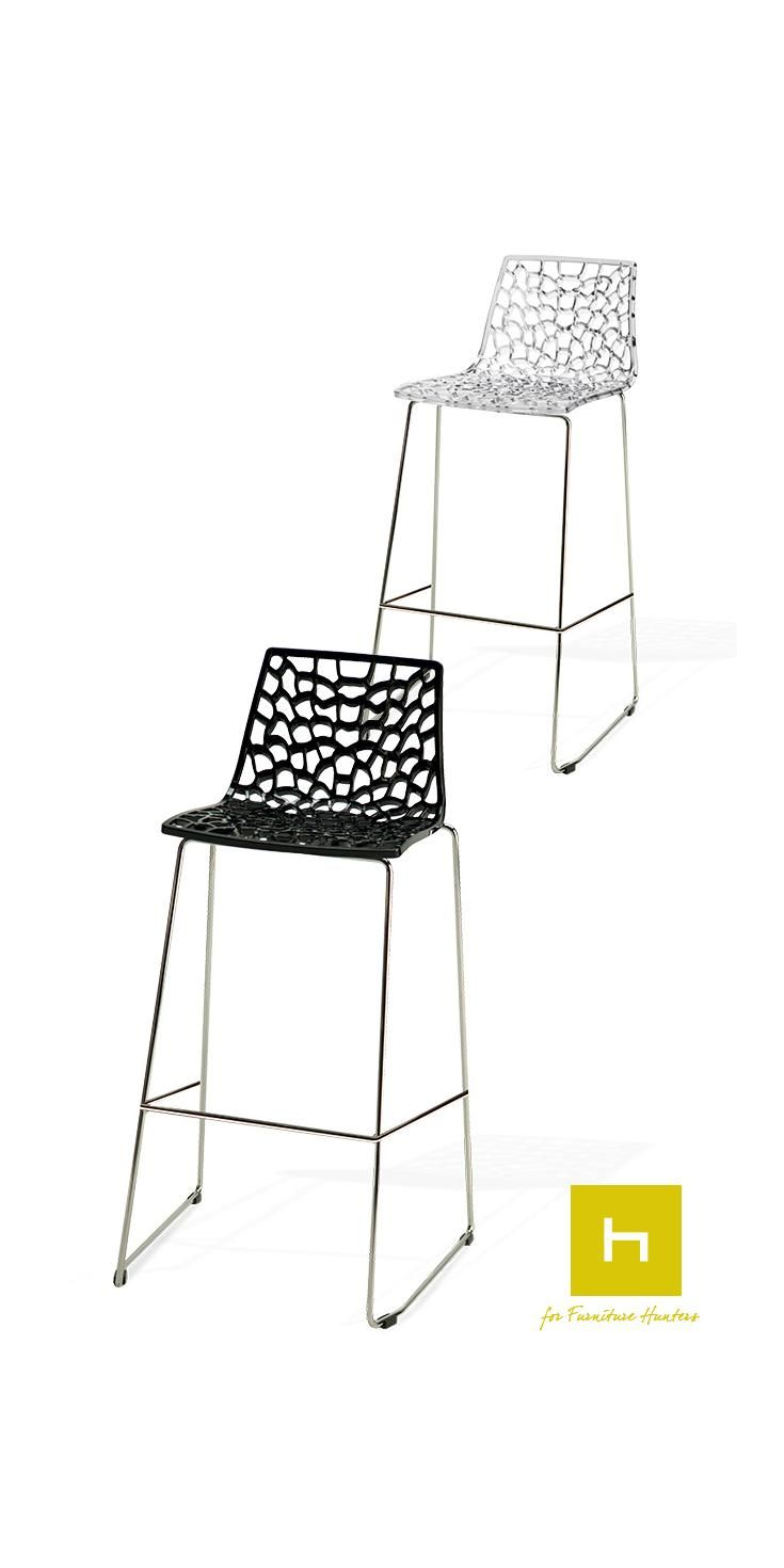 The Web Bar stool is an unique Italian inspired design piece. Place it around your breakfast bar or a bar height dining table for a striking modern look. Available in black or transparent with a chrome base. #barstools #furniturehunters