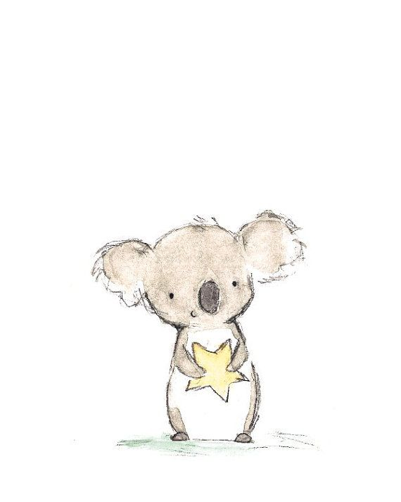 Children's Art Star Friend Koala Archival by trafalgarssquare, $10.00