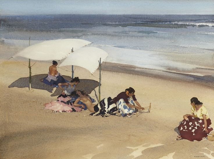 Sir William Russell Flint (1880 — 1969, Scotland) Gypsies on the Beach at Zarauz. 1962 watercolour. 39 x 52 cm. (15.5 x 20.5 in.)