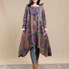 Women Long sleeve autumn dress - L(Fit for EU 42-44,US12-14,UK16-18) / Green