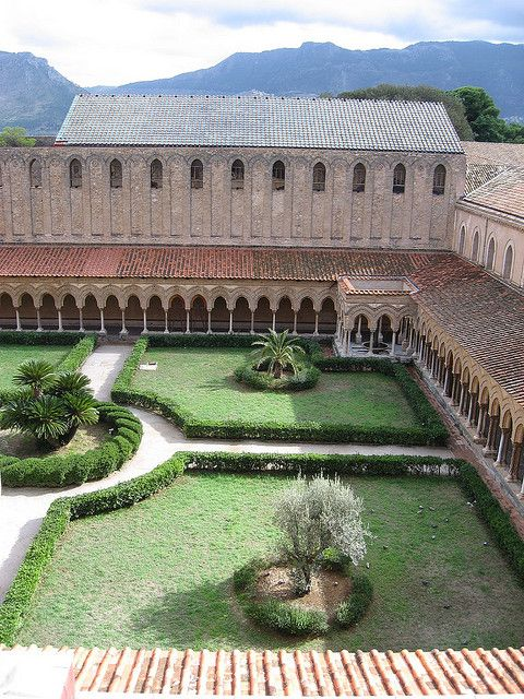 The cloister of the abbey of Monreale, Palermo. XII Century