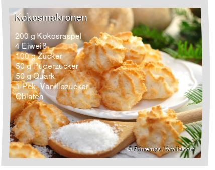 Leckeres Kokosmakronen Rezept mit einfacher Schritt-für-Schritt-Anleitung: Eiweiss steif schlagen , Zucker nach und nach unterrühren bis er sich auflös...