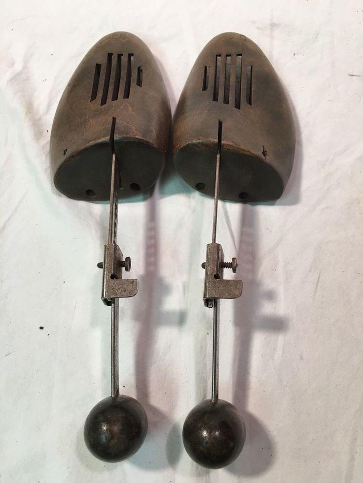 Vintage pair wooden shoe trees shoe stretchers 9C #Unbranded