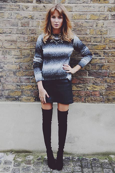 Doesn't Millie Manderson (nee Mackintosh) look super cosy in our Oasis bubble leather skirt.