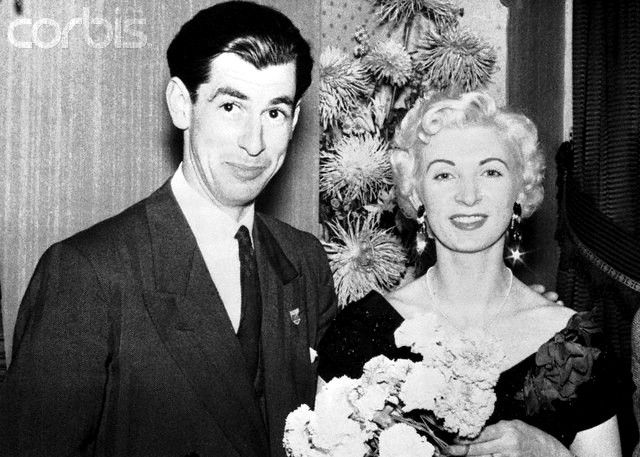 Ruth Ellis standing next to Derek Blakely for whose murder she was hanged in 1955.