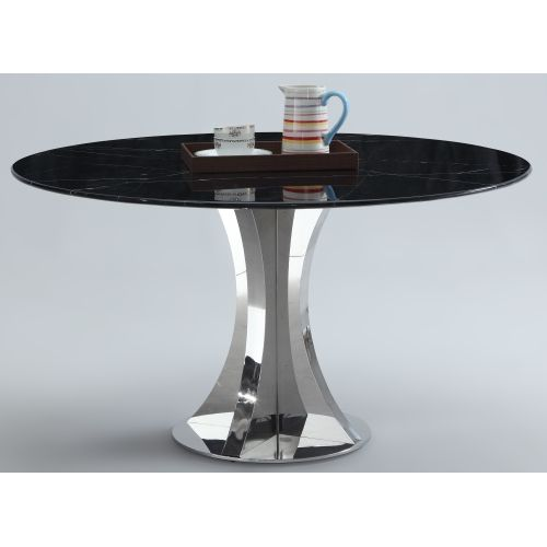 The Bellagio Dining Table Features A Black Marble Top And Shiny Stainless  Steel Base. 54 Good Ideas